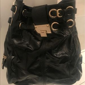 Jimmy Choo black shiny leather pocketbook